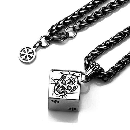 Beydodo Titan Kette Herren Totenkopf Cube Anhänger Halskette Silber für Männer Partnerkette