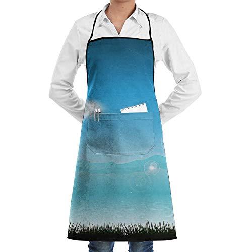 funny aprons Tropical Landscape Aprons Bib for Mens Womens Garden String Adjustable Adult Kitchen Waiter Schürzen mit Taschen -