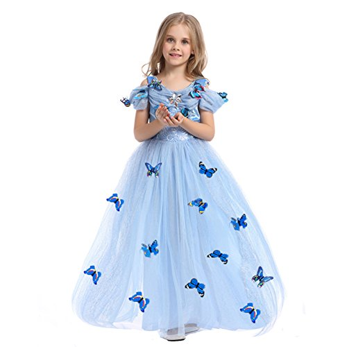 iikids Prinzessin Kostüm Eiskönigin Kleid für Mädchen Schmetterling Karneval Verkleidung Party Cosplay Faschingskostüm Festkleid Weinachten Halloween Fest Kleid Blau (Holloween Lustige Kostüme)