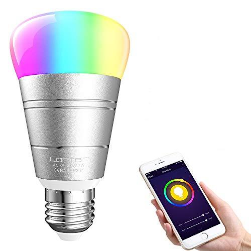 Glühbirne Alexa Lampe, LOFTer Wifi Smart LED Glühbirnen E27 7W RGB dimmbar Alexa Glühbirnen E27 Wlan Lampe Smart LED App und Sprachsteuerung, kompatibel mit Amazon Alexa und Google Home