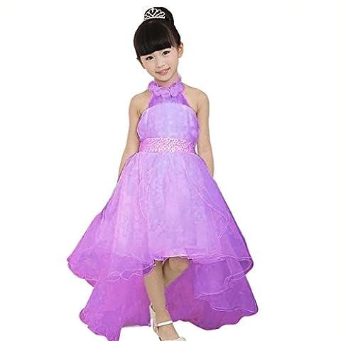 Vovotrade Robe de Fête Tenue de Soirée Longue Queue robes Fleur élégante Enfants Vêtements pour Bébé (Size:140, Violet)