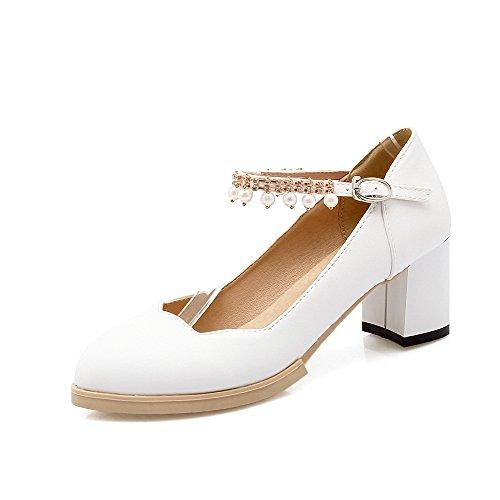 AgooLar Damen Schnalle Pu Leder Spitz Zehe Mittler Absatz Eingelegt Pumps Schuhe Weiß