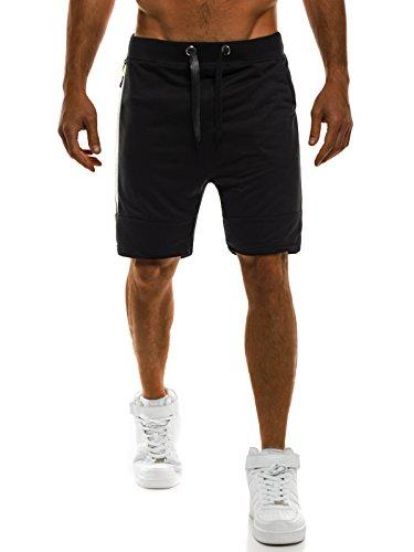 OZONEE Herren Jogg Freizeitshorts Sportshorts Knielang Kurze Hose Shorts Bermudas J.STYLE AK08 SCHWARZ L
