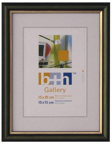 OSLO MasterLine Bilderrahmen 15x20 grün/Gold Holz massiv, Innenrand goldfarben, zum Hinstellen oder Aufhängen, Echt-Glas, Holzrahmen
