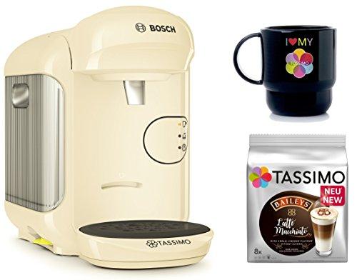 Bosch TASSIMO VIVY 2 + T-Discs Baileys + Tupper Becher Kapselmaschine (Creme)