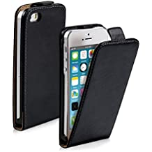 kwmobile Funda para Apple iPhone SE / 5 / 5S - Flip Case para móvil en cuero sintético - Cover plegable negro