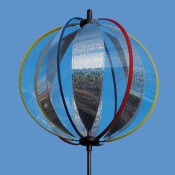 Kugel Windspiel - Magic Crystal Laser - UV-beständig und wetterfest - Kugel: Ø25cm, Gesamthöhe: 100cm - inkl. Standstab, Bodendübel und Aufhängung (Laser)
