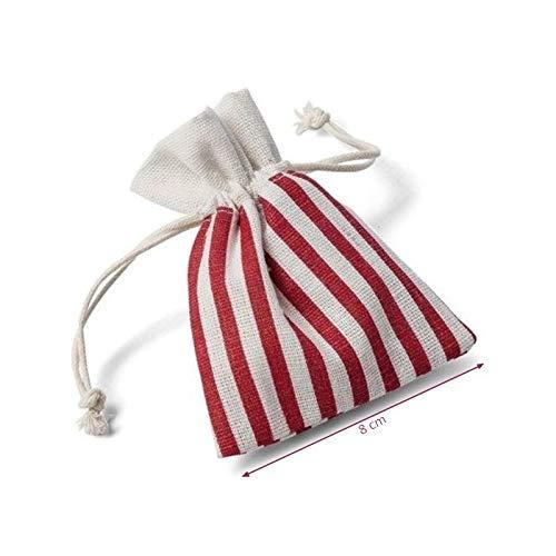 Beutel, gestreift, rot und weiß, Baumwolle, 5 Stück 8 x 10 cm, kleine Tasche mit Kordel, Motiv Marin