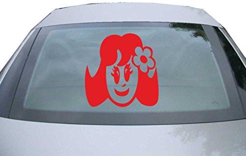 Indigos UG - Aufkleber für Heckscheibe & Motorklappe DE6357 - rot - 600x599 mm - Cute Baby Girl - für Auto, Scheiben, Fenster, Heckklappe, Tuning, Racing, JDM / Die cut (Cute Boy Koffer)