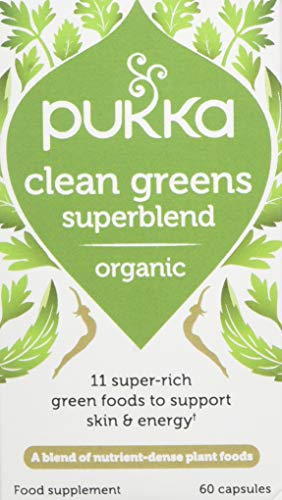 Pukka Herbs Clean Greens, Organic Blend with Nettle, Kale & Wheat Grass, Pack of 60 Capsules