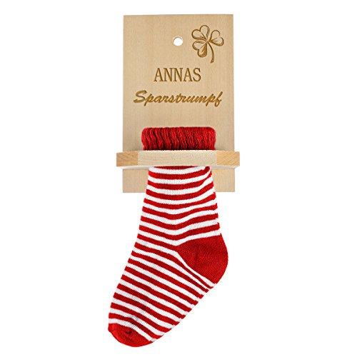 Sparstrumpf mit Gravur des Namens - Socke rot - Geschenk zum Geburtstag - Motiv Glücksstrumpf