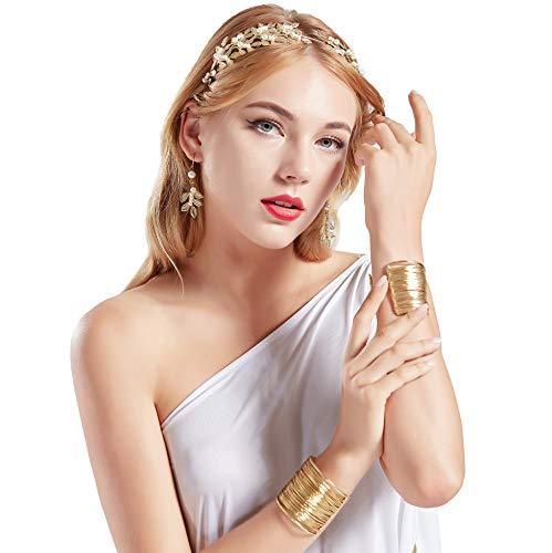 Zubehör Kostüm Römisch - Coucoland Athene Kostüm Zubehör Set Damen Blatt Stirnband Haarreif Perlen Ohrringe Gold Spule Armband Exotisch Damen Göttin Fasching Kostüm Accessoires (Gold - Stil 2)