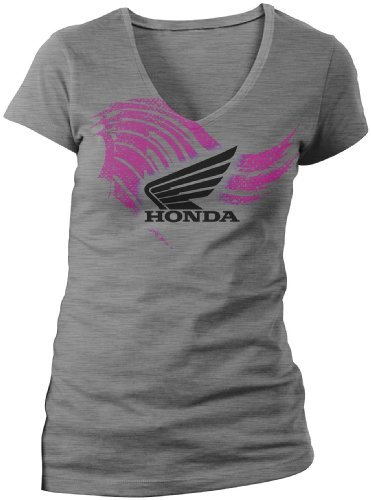 Flügel V-neck Tee (Unbekannt Honda Damen T-Shirt, abstrakte Flügel, V-Ausschnitt, kurzärmlig, Damen, Ladies Abstract Wings Short Sleeve, grau meliert, Small)