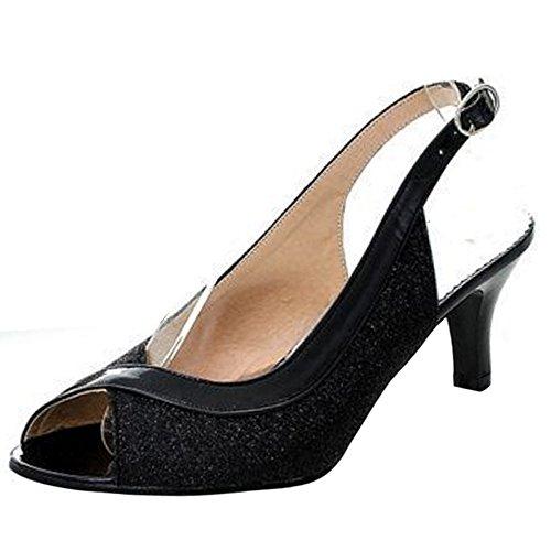 COOLCEPT Femme Mode A Enfiler Chaussures Basse Slingback Escarpins Peep Toe Chaussures Noir