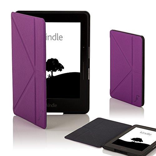 azon Kindle Voyage Origami Hülle Schutzhülle Tasche Bumper Folio Smart Case Cover Stand - Ultra Dünn und Leicht mit Rundum-Geräteschutz und intelligente Auto Schlaf / Wach Funktion (VIOLETT) ()