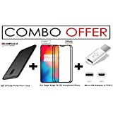 "[ COMBO OFFER ] For OnePlus 6T – WOW Imagine Premium Full 5D Edge-to-Edge Tempered Glass (PACK OF 2) + All Sides Protection ""360 Degree"" Matte Hard Back Cover (Black) + Micro-USB To Type C Adapter [All You Need Accessory Kit]"