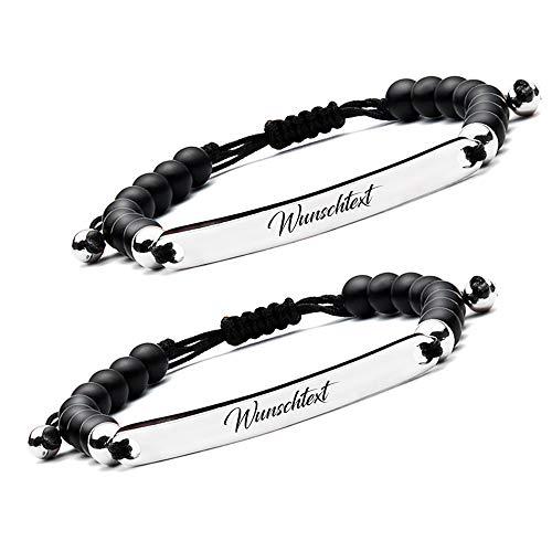 BAVELA Personalisierbares Armband Edelstahl-Perlenarmband mit individueller und professioneller Wunschgravur