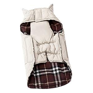 Beetest-Animaux de compagnie chien automne hiver imperméable vêtements Plaid Reversible Jacket Coat tissu XXL