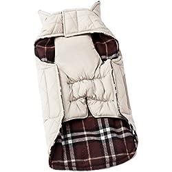 BEETEST Perro de animal doméstico otoño invierno ropa cuadros Reversible impermeable chaqueta abrigo paño S