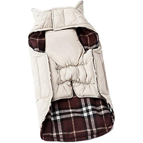 BEETEST Perro de animal doméstico otoño invierno ropa cuadros Reversible impermeable chaqueta abrigo paño