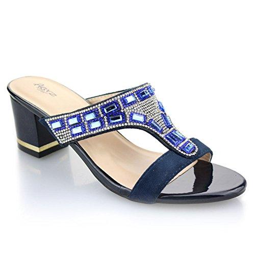 Aarz Femmes Mesdames Soirée Party Mariage Casual Slip-on Bloc talon Sandales Taille (Bleu Marine, Noir, Rouge) Bleu Marine