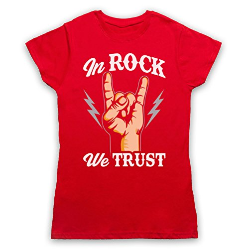 In Rock We Trust Music Slogan Damen T-Shirt Rot