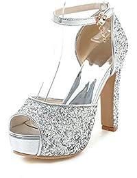 ZHZNVX Scarpe donna pu Primavera Estate della pompa base Gladiator sandali Stiletto Heel per Casual Bianco Nero...
