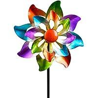 dekojohnson - Molino de viento para el jardín de metal, diseño de flores, doble molino de viento, color lila, azul, rojo y verde, 110 cm grande