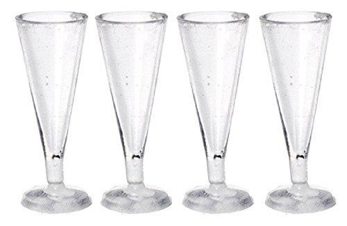 Puppenhaus Miniatur Esszimmer Accessoire Set - 4 Große Pilsner Lager Gläser 5/8 Glas