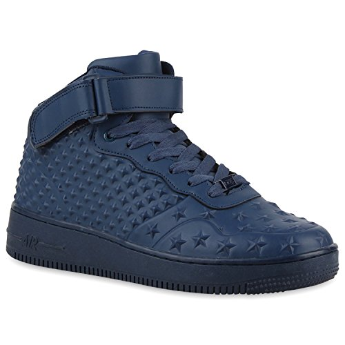 Damen Herren Cultz Basketballschuhe Sportschuhe Sneakers Dunkelblau Sterne