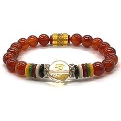 Pulsera budista de ágatas rojas naturales con abalorios mala de yoga y de rezo tibetano y piedra de chakra
