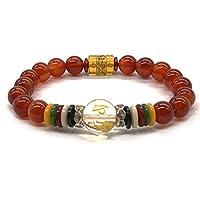 Red Agate Bracelet Pray Mala Beads Bracelet Natural Birthstone Handmade Semi-Precious Bracelet Buddhist Chakra Stone Bracelet