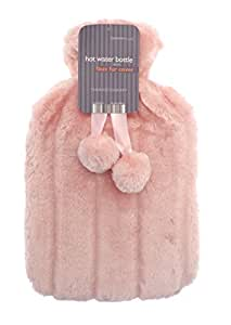 Luxurious Cosy Faux Fur Cover Hot Water Bottles with Pom Poms: (Salmon)