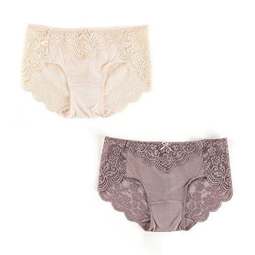 2er Pack Damen Spitze Slips Lace Unterwäsche Unterhose Panties Hüftslip 100% Seide für Taille 76-83CM EU42-44 L haut kaffee (Slips Lace-seide)