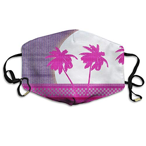 SDFDD Mouth Maske,Pink Palm Tree Unisex Face Mask Earloop Dust Protecting Mask Cycling Breathable Mask