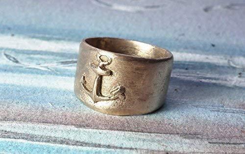 Unisex Ring in Ihre Grösse, Handgemacht Goldbronze Matrosenring mit Schiffsanker (auch aus Silberbronze oder Kupfer),t, für Männer und Frauen, Damen und Herren, speziell Preis für 2 Ringe