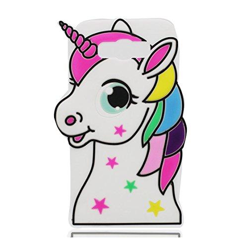 Galleria fotografica EarthNanLiuPowerTu Samsung Galaxy J7 2016 Custodia, 3D Cute Cartoon unicorno unicorn animale morbido silicone caso di gomma antiurto Copertura per Samsung Galaxy J310 - bianca Unicorn