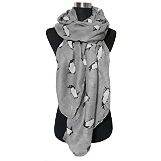 ANKKO Lovely little penguin cartoon animals scarves voile printed shawl scarves