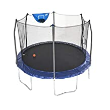Skywalker Unisex Child Jump N Dunk w/ Basketball Hoop, Round Trampoline, Blue - 12 foot
