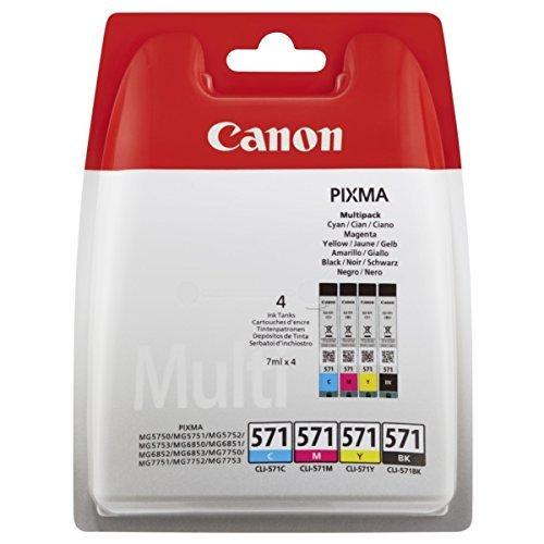 24 Sec, Farbe (Canon CLI-571 BK/C/M/Y Tintenpatronen Multipack 4x 7ml schwarz/mehrfarbig)