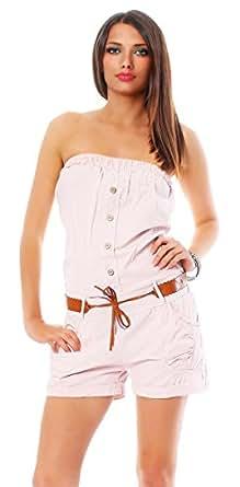 10002 Fashion4Young Damen Overall Short aus Baumwoll-Stoff Bandeau-Oberteil verfügbar in 9 Farben (36/38, Altrosa)