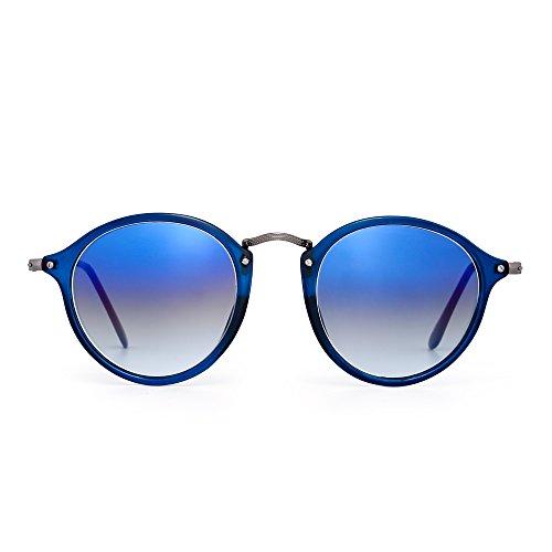 JIM HALO Retro Polarisiert Runden Sonnenbrille Klein Glas Getönt Kreis Linse Damen Herren(Blau/Farbverlauf blau) (Holiday Gläser Light)