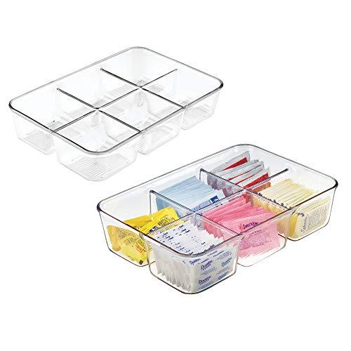 mDesign Juego de 2 cajas para infusiones para cocina – Organizadores de cajones de fácil manejo con 6 divisiones – Cajas con compartimentos multiusos de plástico para guardar alimentos – transparente