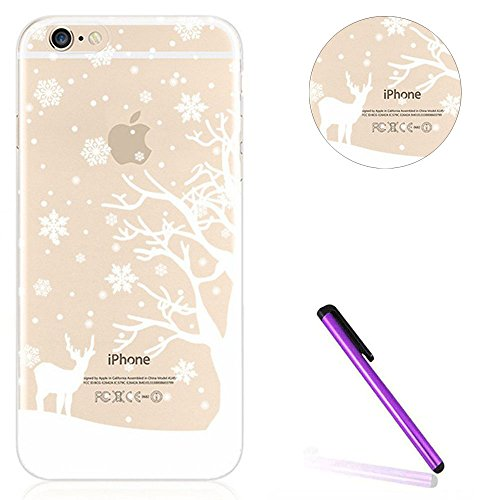 iPhone 7 Bling Coque,iPhone 7 Transparente Coque,iPhone 7 Silicone Coque,iPhone 7 Bling Diamant Cœur Etui Housse Coque,iPhone 7 Clear Coque,EMAXELERS iPhone 7 4.7 Pouce Souple Soft Gel Transparent TPU E Christmas TPU 1