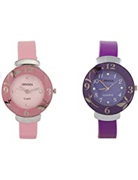 Freny Exim Luxurious Combo Of Pink And Purple Dial Rubber Strap Women Analog Watch - For Girls