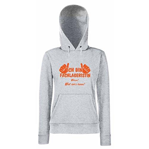 Damen Hoodie Ich bin Fachlageristin - weil ich's kann! Grau-Orange
