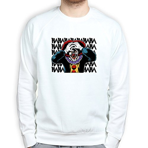 Mens Laughing Clown Scary Halloween Sweatshirt 2XL White
