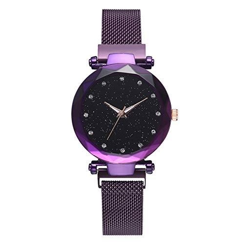 Reloj de Cuarzo de Star para Mujer Reloj Perezoso Reloj con imán Reloj de Correa de Superficie Estrellada Reloj Moda de Lujo - Púrpura