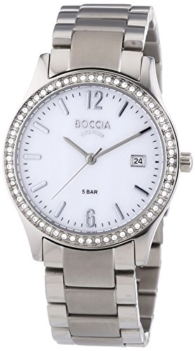 Boccia Women's Quartz Watch with Mother of Pearl Dial Analogue Display and Silver Titanium Bracelet B3235-02