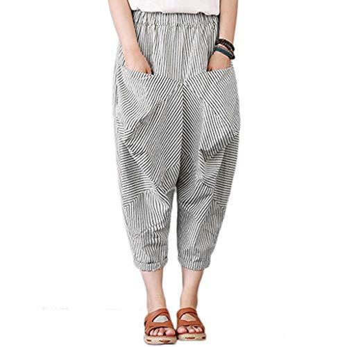 garderobe goa JERFER Damen Pocket Stripe Wide Leg Kurze Hose Mode Lässig Schlanke Weiße Hose